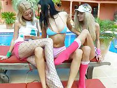 Unbelievable lesbian threesome tubes