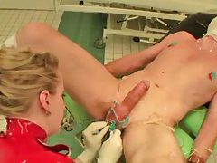 Nurse in latex abuses her patient tubes