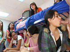 Male stripper blown by girls in dorm room tubes