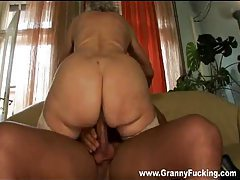 Granny blows him and gets hammered tubes