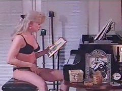 Masturbating her tgirl cock at the piano tubes