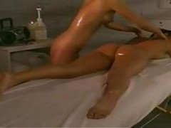 A massage with lotion leads to lesbian sex tubes