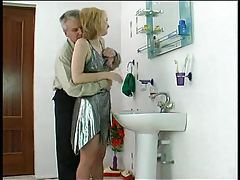 Older man fucks girl in shiny silver dress tubes