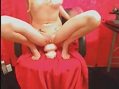 Hot webcam girl using huge toys tubes