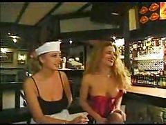 Girls having group sex in restaurant tubes