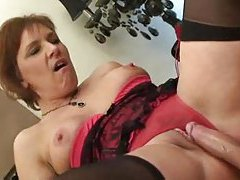 Humping a mature in cute lingerie tubes