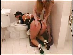 Maid in bathroom is abused hard tubes