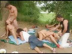 Sizable sex party outdoors is hot stuff tubes