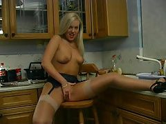 British hottie masturbating in the kitchen tubes