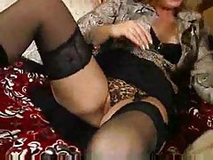 Sexy black lingerie and boots on horny mom tubes