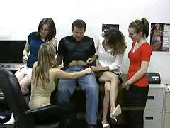 Four office babes play with his dick tubes