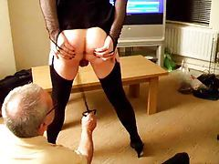 Sissy wears lingerie and gets whipped tubes