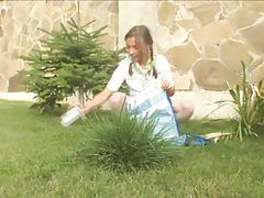 Beauty teenie masturbating at park tubes