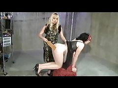Mistress paddles the sissy in a dress tubes