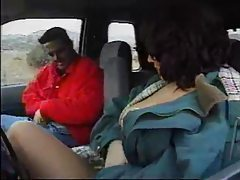 Girl in pantyhose fucked in a car tubes