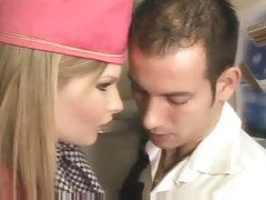 Stewardess gives head and has anal sex tubes