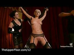 Bound to cross blonde gets flogged and tits clamped tubes