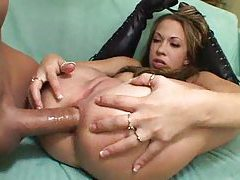 The cock in her ass goes so deep tubes