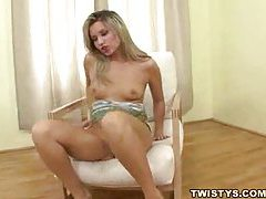 Slender and solo girl using her fingers tubes