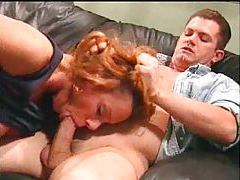 Redhead gives his thick cock a hot blowjob tubes