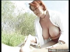 Plump mommy riding cock in the sun tubes