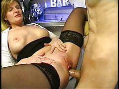 Sexy milf bartender has anal sex tubes