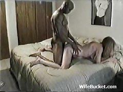 Slim white wife taking big black cock tubes