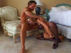 Harmony wears stockings and gets fucked tubes