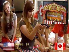 Cute girls play a carnival game tubes