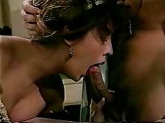 Horny stockings girl in classic porn threesome tube