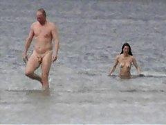 Slender naked chicks at the beach tubes