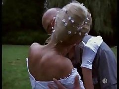 Naughty bride taken outdoors by two guys tubes