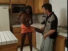 Skinny black chick hardcore with white guy tube