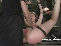 Prison tied bitch fucked in her mouth then fingered and busted in bdsm sex tubes