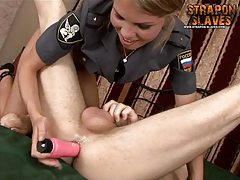 Mistress Olga drills the man ass tubes