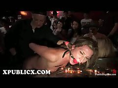 Gagged Ariel X fucked with strap on toy in lesbian bar tube