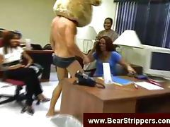 Male stripper show at an office tubes