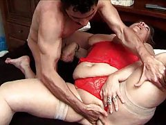 BBW in lingerie has sex with an eager cock tubes
