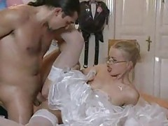 Beautiful blonde bride in glasses fucked tubes