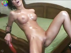 Girl with perfect body riding bed post tubes