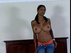 Black chick with really big oiled up tits fucking tubes
