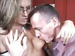 Horny threesome girl is taken by hard meat tubes