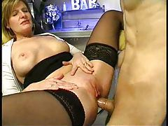 Horny mature bartender fucked by young guy tubes