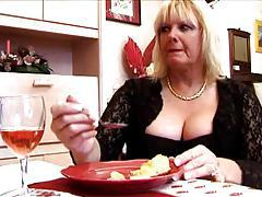 Chubby mature fucked while husband watches tubes