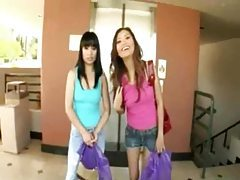 Super hot Asian girls with huge dildos tubes