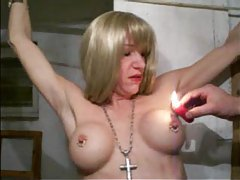 Hot wax dripped on her amateur tits tubes
