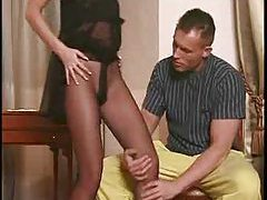 Ripped pantyhose on slut that wants cock tubes
