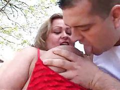 Fatty is outdoors taking a nice big cock tubes