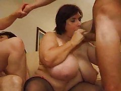 Three chubby matures help out his cock tubes