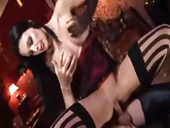 Aletta Ocean with hot red lips fucked in the ass tubes